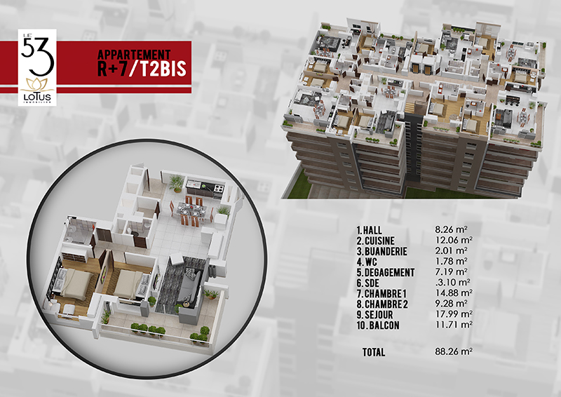 Plan appartement T2 BIS