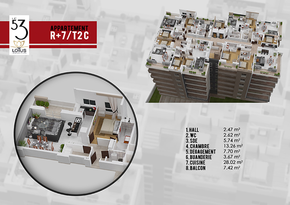 Plan appartement T2C
