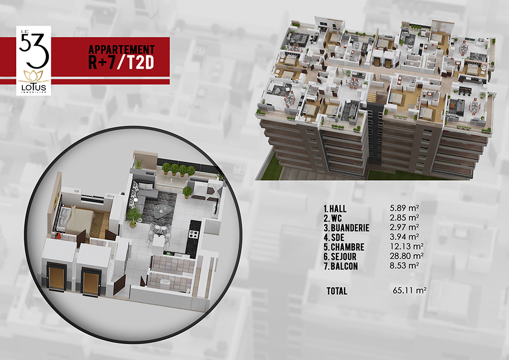 Plan appartement T2D